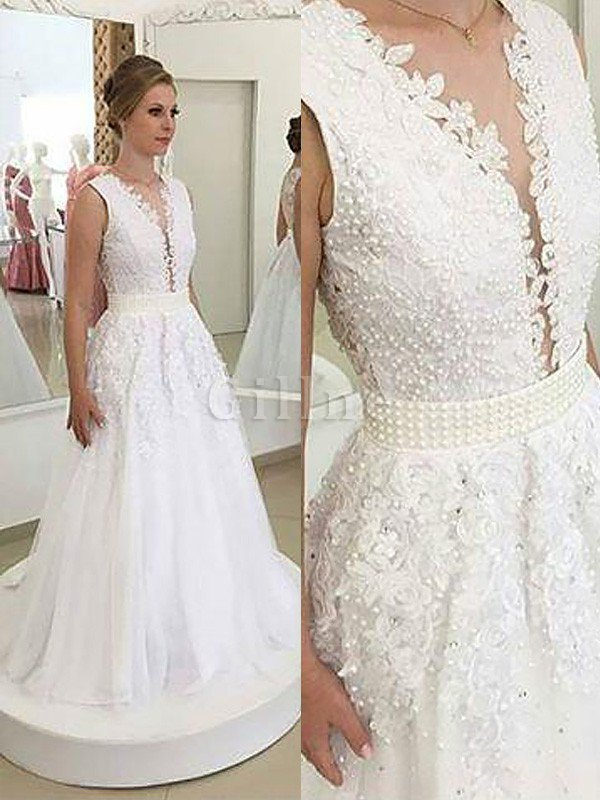Sleeveless Sweep Train Natural Waist Tulle Princess Wedding Dress