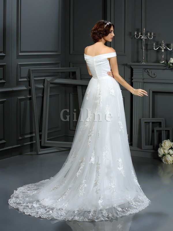 Natural Waist Long A-Line Zipper Up Off The Shoulder Wedding Dress