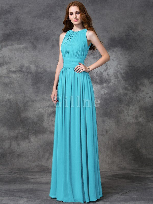Sleeveless Ruched Natural Waist Chiffon Long Bridesmaid Dress