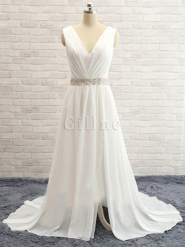 Sweep Train Natural Waist Beading A-Line Wedding Dress