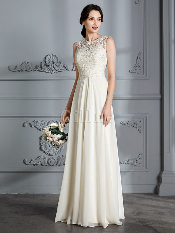 Floor Length Sleeveless Natural Waist Chiffon A-Line Wedding Dress