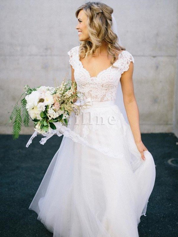 A-Line Lace Natural Waist Sleeveless Wedding Dress