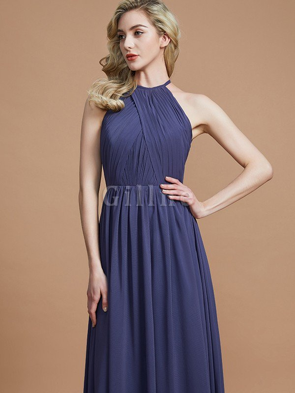 Sleeveless Floor Length A-Line Scoop Bridesmaid Dress