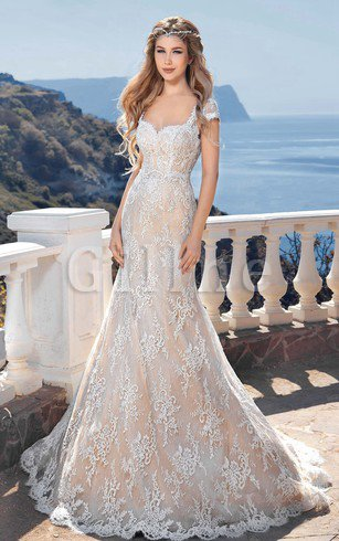 Mermaid Elegant & Luxurious Keyhole Back Short Sleeves Sweep Train Wedding Dress