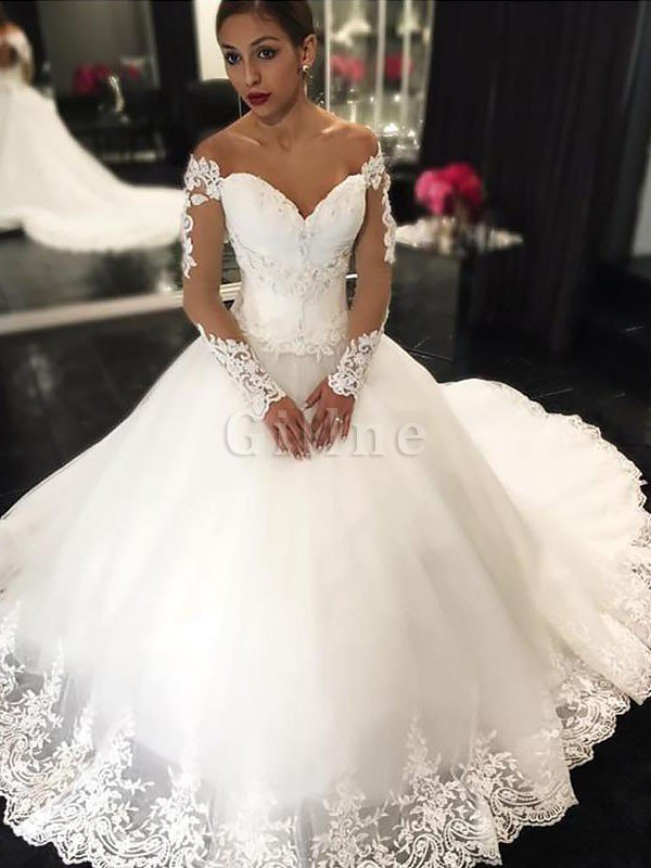 Off The Shoulder Tulle Court Train Ball Gown Appliques Wedding Dress