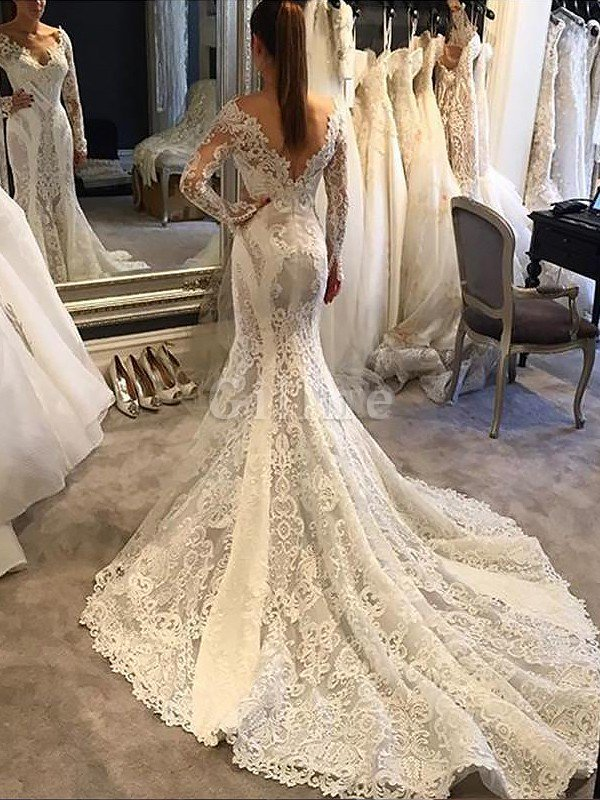 Court Train Lace V-Neck Natural Waist Mermaid Wedding Dress
