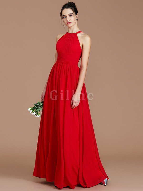 Ruched Floor Length Chiffon Natural Waist Halter Bridesmaid Dress