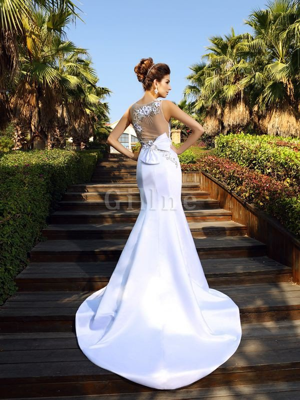 Beading Sleeveless Empire Waist Court Train Satin Wedding Dress