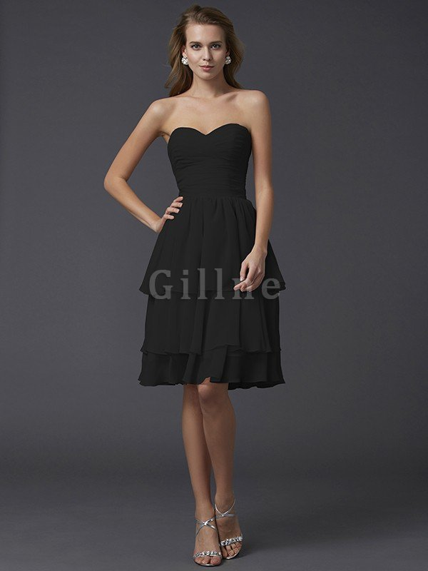 Short Chiffon Sheath Sleeveless Zipper Up Bridesmaid Dress