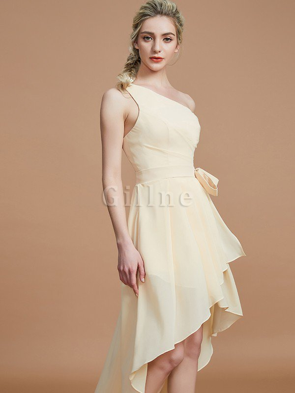 Asymmetrical Chiffon Natural Waist Bridesmaid Dress