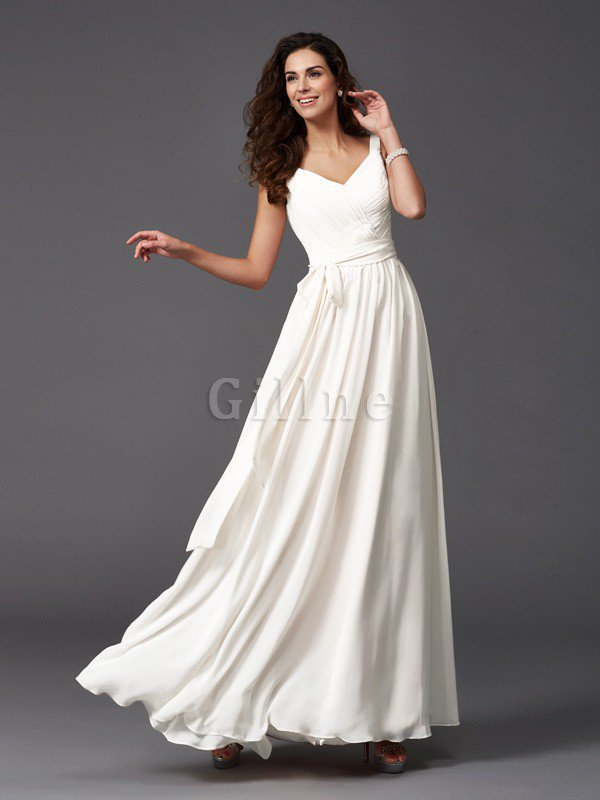 Sashes Floor Length Spaghetti Straps A-Line Bridesmaid Dress