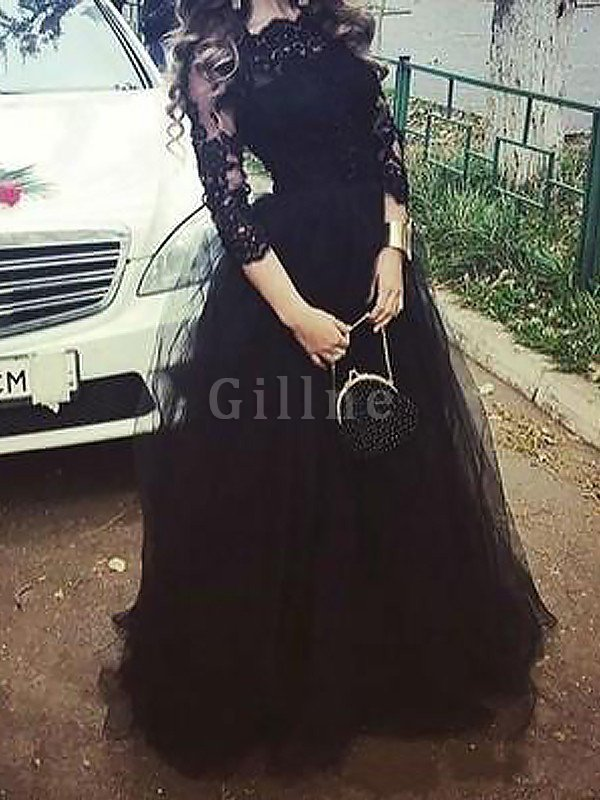 Bateau Ball Gown Lace Tulle 3/4 Length Sleeves Evening Dress