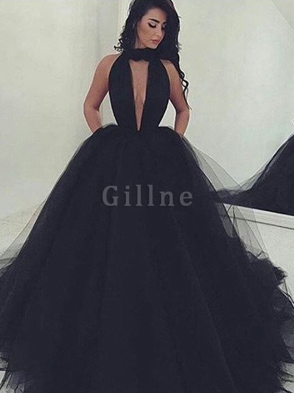 Floor Length Ball Gown Sleeveless Beading Tulle Evening Dress