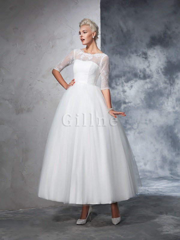 Ball Gown Ankle Length Half Sleeves Lace Long Wedding Dress