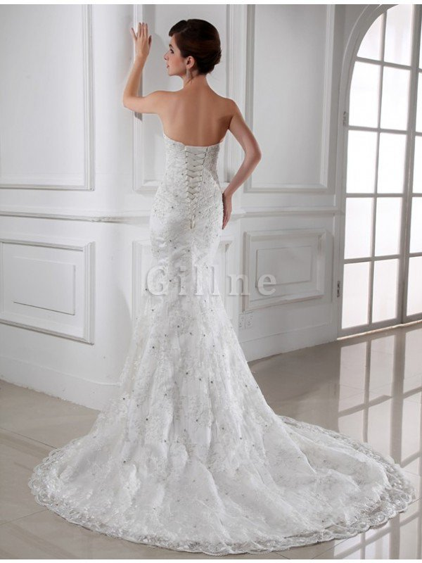 Beading Sleeveless Chapel Train Satin Mermaid Wedding Dress
