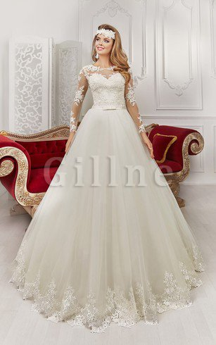 Pleated Long Sleeves Lace Fabric Bateau Romantic Wedding Dress