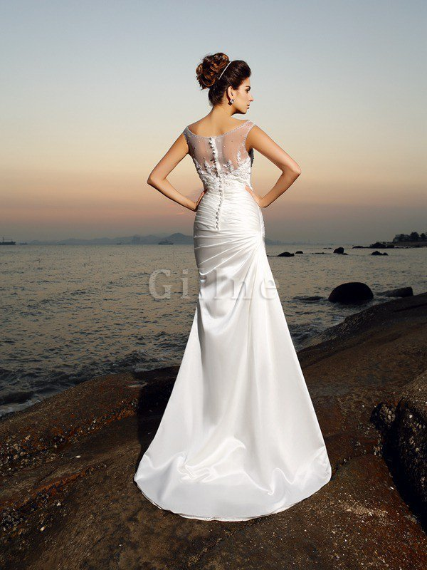 Scoop Empire Waist Beading Satin Long Wedding Dress