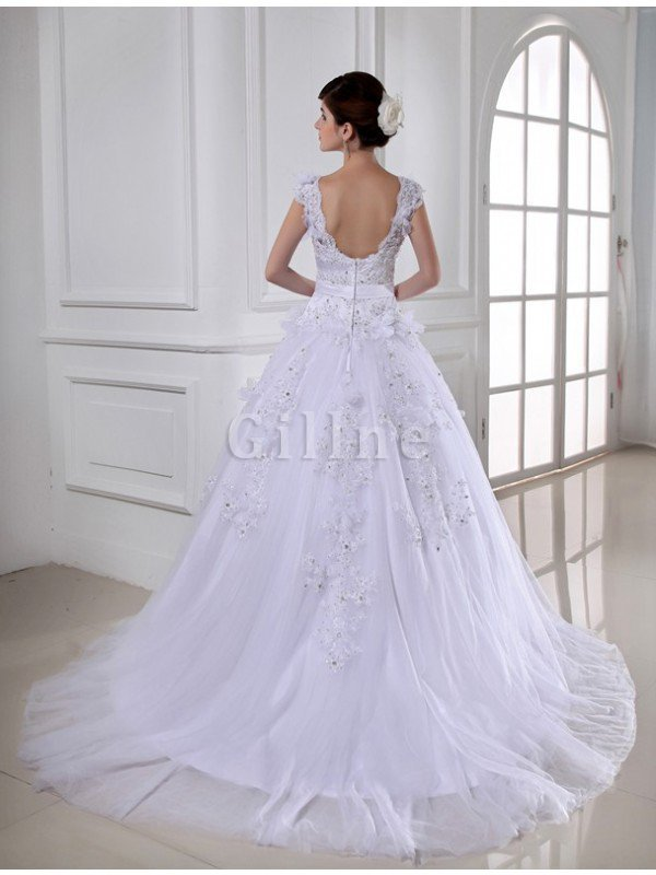 Beading Sleeveless Chapel Train Wide Straps Appliques Wedding Dress