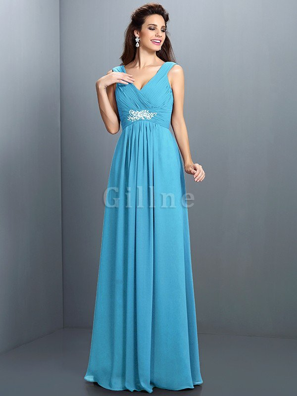 A-Line Chiffon Long Sleeveless Bridesmaid Dress