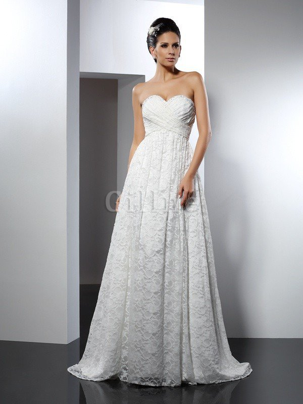 Sleeveless Princess Sweetheart Satin Empire Waist Wedding Dress