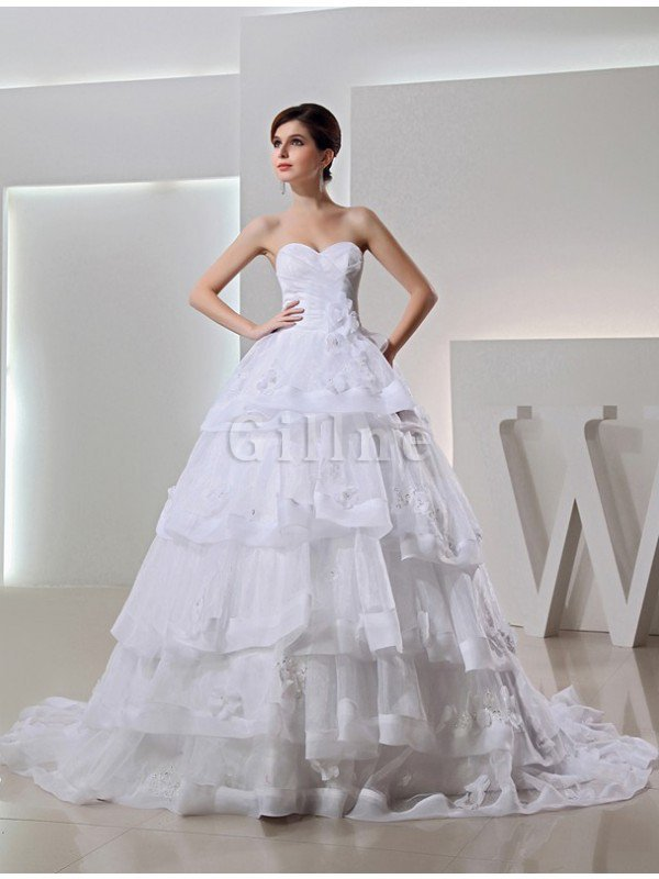 Organza Long Empire Waist Sleeveless Chapel Train Wedding Dress
