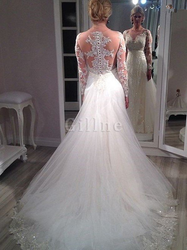 Tulle Long Sleeves V-Neck A-Line Sequins Wedding Dress