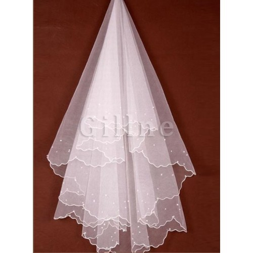 Beading Luxurious Short Bridal Veils
