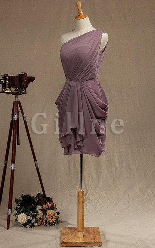 A-Line One Shoulder Pleated Ruffles Informal & Casual Bridesmaid Dress