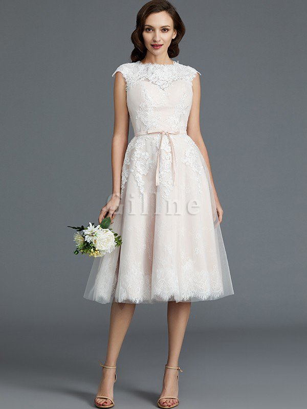 Bateau Natural Waist Sleeveless Knee Length A-Line Wedding Dress