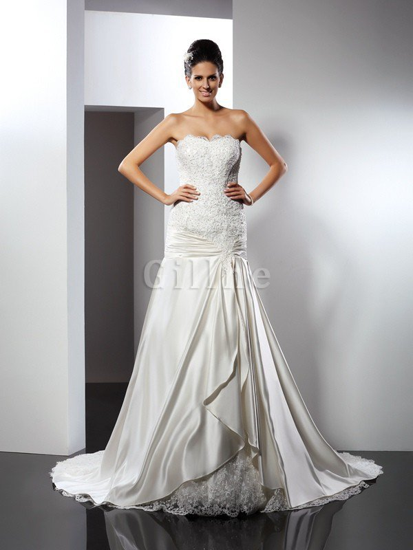Empire Waist Long Chapel Train Appliques Mermaid Wedding Dress