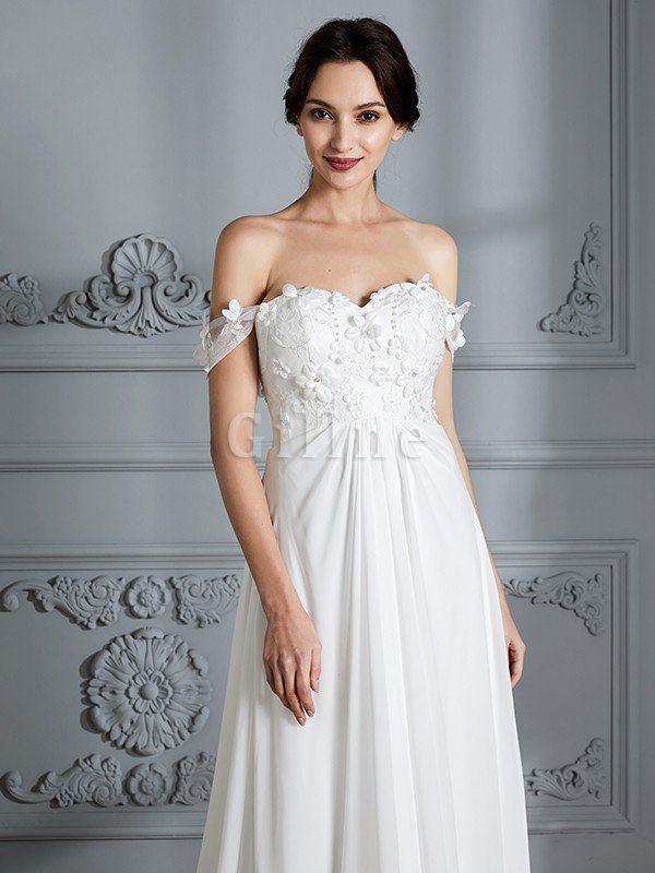 Sleeveless Chiffon Natural Waist Off The Shoulder Floor Length Wedding Dress