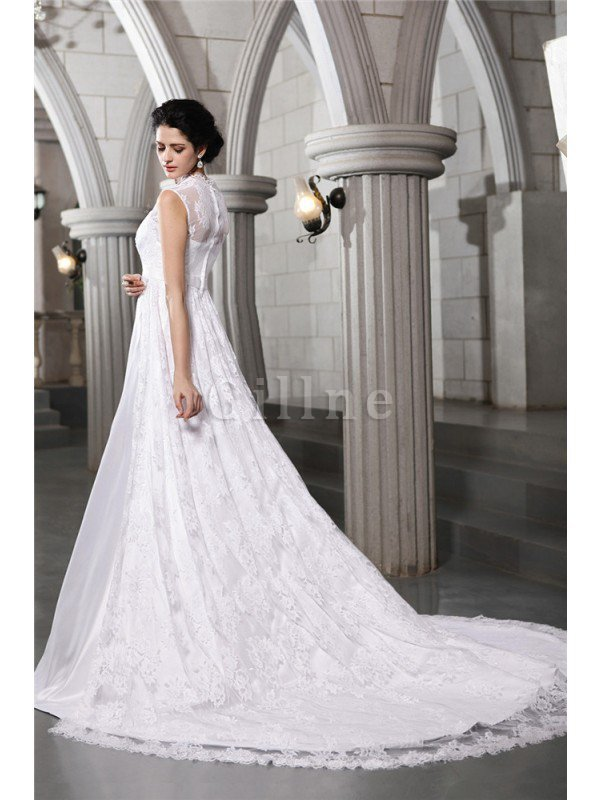 Sleeveless Zipper Up Wide Straps Satin A-Line Wedding Dress