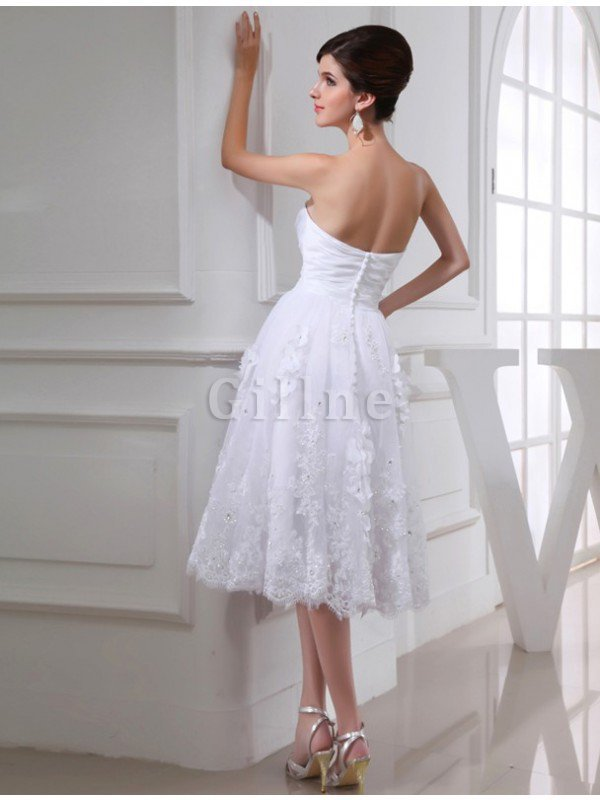 Beading Sweetheart Taffeta Knee Length Organza Wedding Dress
