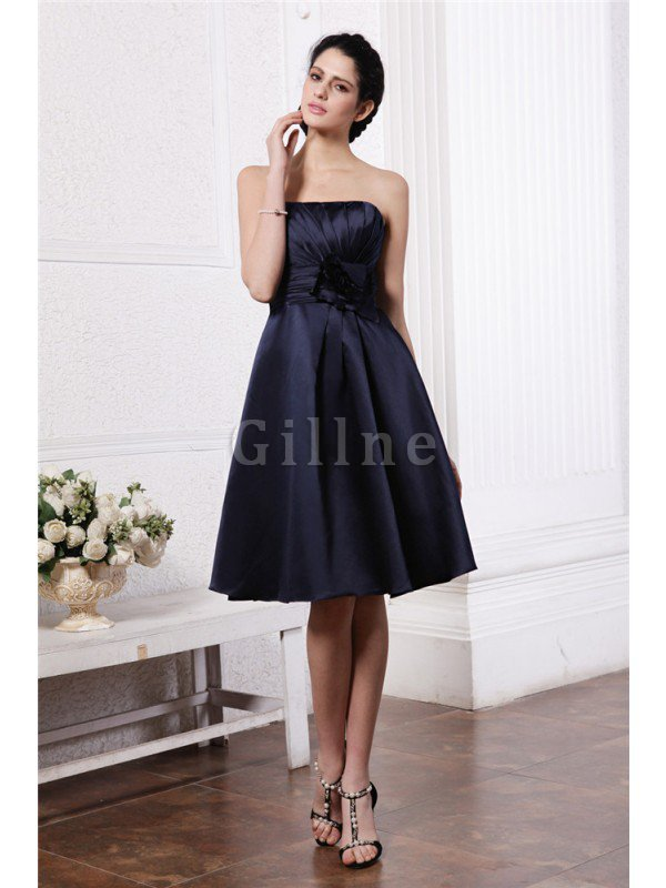 Zipper Up Princess Short Flowers Pleated Bridesmaid Dress