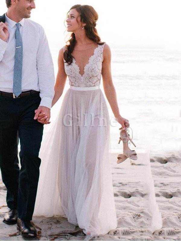 Floor Length Lace-up Natural Waist Tulle Lace Wedding Dress