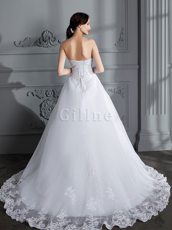 Ball Gown Natural Waist Organza Sleeveless Court Train Wedding Dress