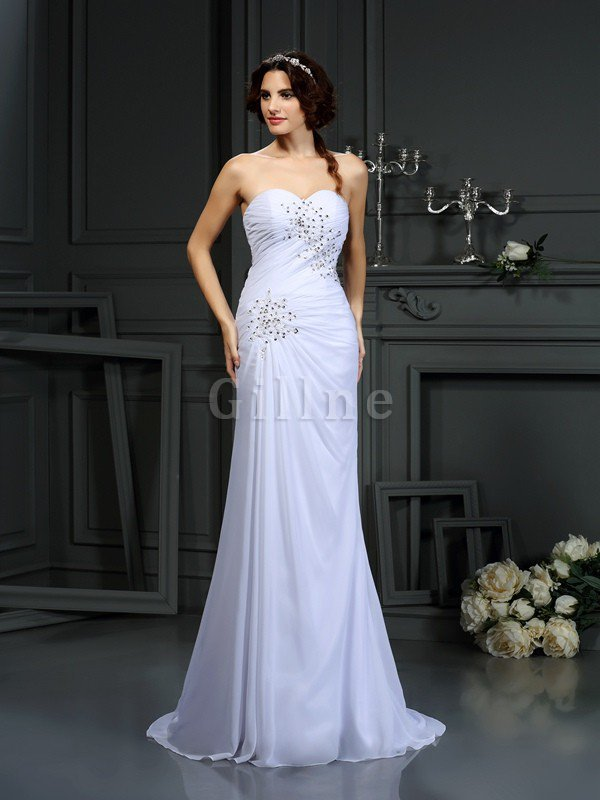 Chiffon Sleeveless Beading Lace-up Long Wedding Dress