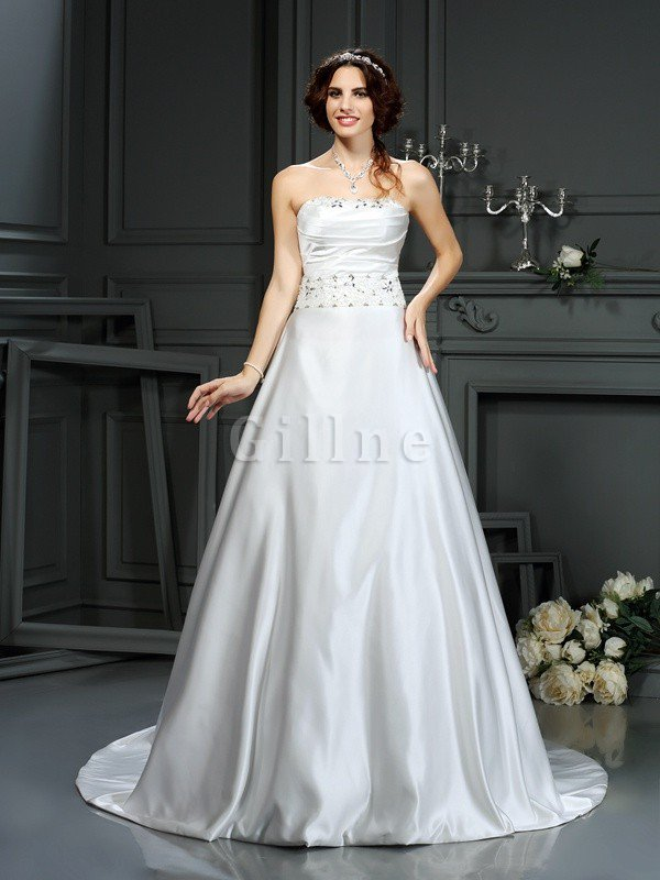 Strapless Court Train Long Beading Zipper Up Wedding Dress